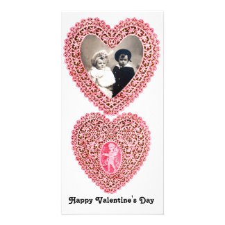 CUPID LACE HEART  , pink red white Card