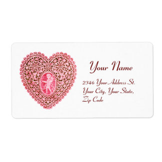 CUPID LACE HEART,pink red white Shipping Label