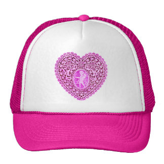 CUPID LACE HEART , Pink Violet Trucker Hat