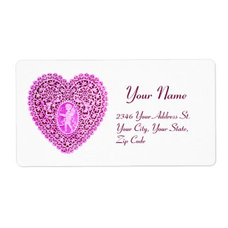 CUPID LACE HEART,pink violet white Shipping Label