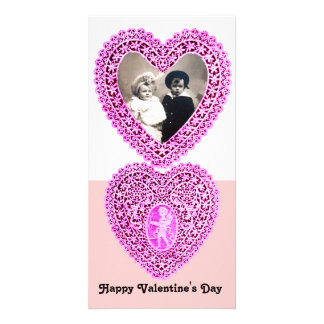 CUPID LACE HEART  , Pink White Custom Photo Card