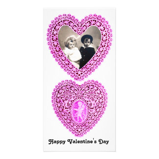 CUPID LACE HEART  , Pink White Photo Card