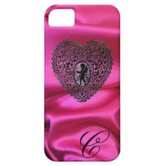 CUPID LACE HEART SILK BLACK FUCHSIA CLOTH MONOGRAM iPhone SE/5/5s CASE