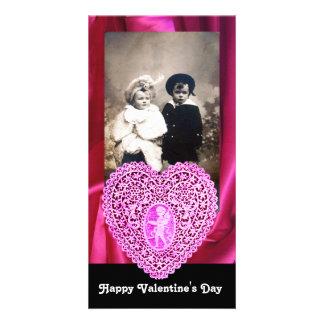 CUPID LACE HEART SILK FUCHSIA CLOTH , pink black Card