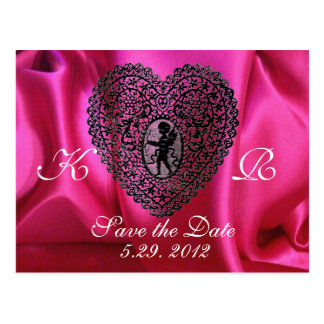 CUPID LACE HEART SILK FUCHSIA CLOTH , Pink Black Postcard