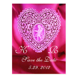 CUPID LACE HEART SILK FUCHSIA CLOTH , Pink Red Postcard