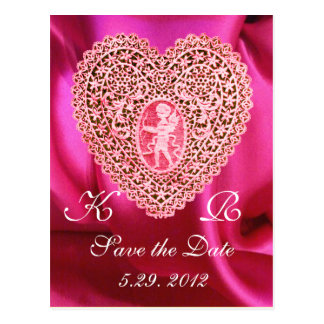 CUPID LACE HEART SILK FUCHSIA CLOTH , Pink Red Postcard