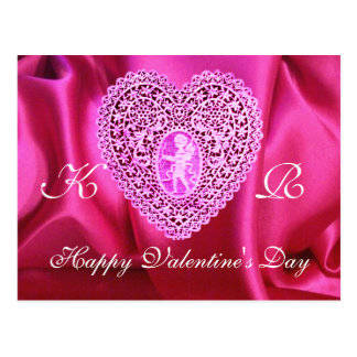 CUPID LACE HEART SILK FUCHSIA CLOTH , Pink Violet Postcard