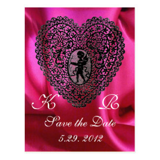 CUPID LACE HEART SILK FUCHSIA CLOTH , Pink Violet Postcard