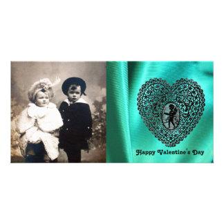 CUPID LACE HEART SILK GREEN BLUE CLOTH, Black Custom Photo Card