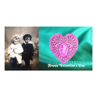 CUPID LACE HEART SILK GREEN BLUE CLOTH,Pink Violet Photo Card