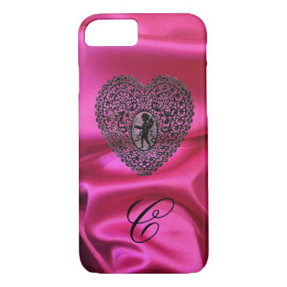 CUPID LACE HEART SILK PINK CLOTH MONOGRAM,Black iPhone 8/7 Case