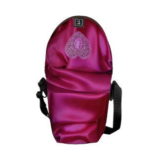 CUPID LACE HEART SILK PINK FUCHSIA CLOTH EFFECT MESSENGER BAG