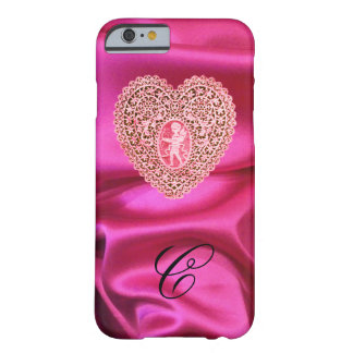 CUPID LACE HEART SILK PINK FUCHSIA CLOTH MONOGRAM BARELY THERE iPhone 6 CASE
