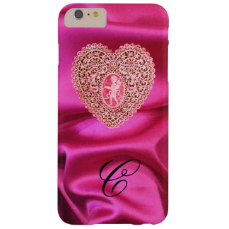 CUPID LACE HEART SILK PINK FUCHSIA CLOTH MONOGRAM BARELY THERE iPhone 6 PLUS CASE