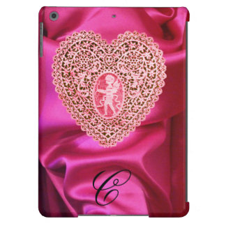 CUPID LACE HEART SILK PINK FUCHSIA CLOTH MONOGRAM COVER FOR iPad AIR