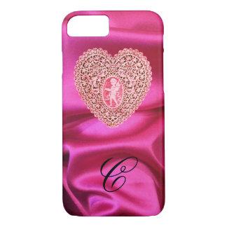 CUPID LACE HEART SILK PINK FUCHSIA CLOTH MONOGRAM iPhone 7 CASE