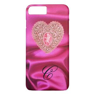 CUPID LACE HEART SILK PINK FUCHSIA CLOTH MONOGRAM iPhone 8 PLUS/7 PLUS CASE