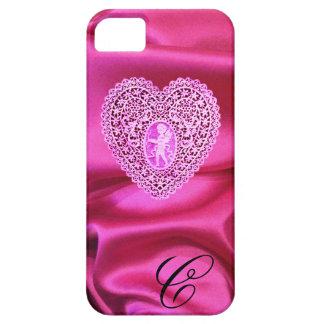 CUPID LACE HEART SILK PINK FUCHSIA CLOTH MONOGRAM iPhone SE/5/5s CASE