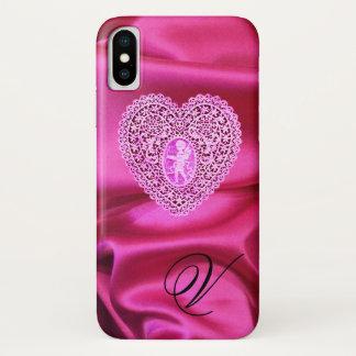 CUPID LACE HEART SILK PINK FUCHSIA CLOTH MONOGRAM iPhone X CASE
