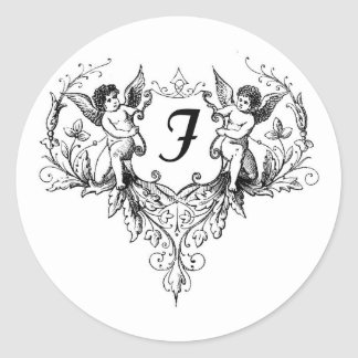 Cupid Letter F Monogram Stickers