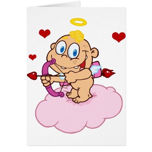 Cupid lindo con la flotación del arco y de la flec tarjeta de felicitación