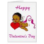 Cupid lindo del africano negro tarjetas