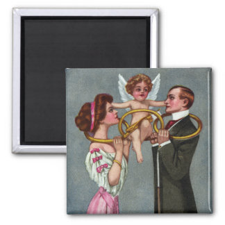Cupid Links Couple with Chain 2 Inch Square Magnet