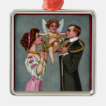 Cupid Links Couple with Chain Christmas Ornament