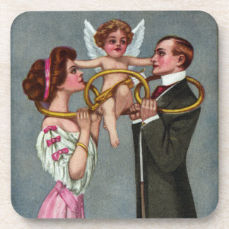 Cupid Links Couple with Chain Drink Coasters