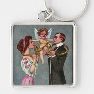 Cupid Links Couple with Chain Keychain