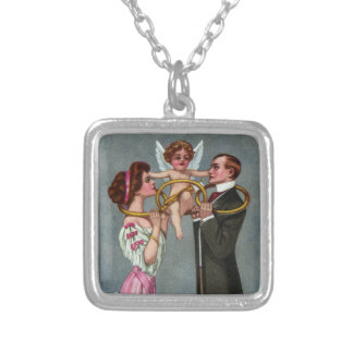 Cupid Links Couple with Chain Personalized Necklace