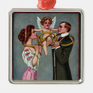 Cupid Links Couple with Chain Square Metal Christmas Ornament