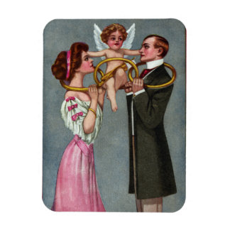 Cupid Links Couple with Chain Rectangular Photo Magnet
