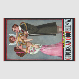 Cupid Links Couple with Chain Rectangular Sticker