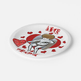 Cupid Love Tokens Paper Plate