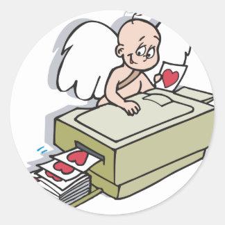 Cupid Makin Copies Valentine Round Stickers