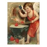 Cupid Making Hearts Vintage Valentine Postcard