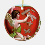 Cupid Mending Broken Heart Double-Sided Ceramic Round Christmas Ornament
