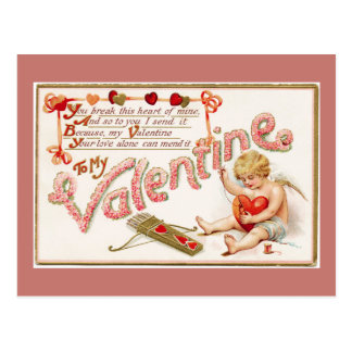 Cupid Mending Heart To My Valentine Pink Postcard