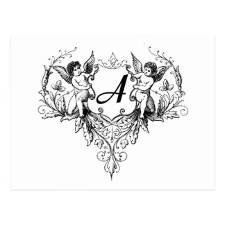 Cupid Monogram A Collection Postcard
