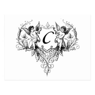 Cupid Monogram C Collection Stationery Postcard