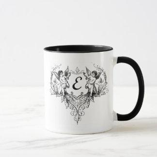 Cupid Monogram Mug Letter E