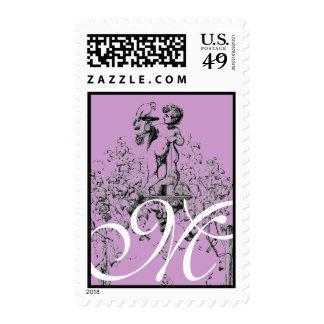 Cupid Monogram Vintage Purple Wedding Postage