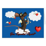 Cupid Mouse with flying hearts Greeting Card