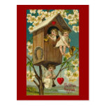 Cupid Musicians in A Treehouse Post Card