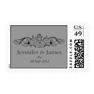 Cupid Names Date Wedding Logo Postage Stamps