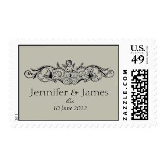 Cupid Names Date Wedding Postage Stamp Oyster Gray