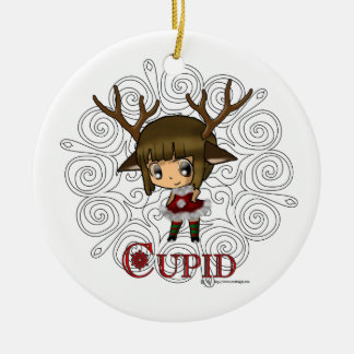 Cupid Double-Sided Ceramic Round Christmas Ornament