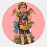 Cupid pasado de moda de la tarjeta del día de San Pegatinas Redondas